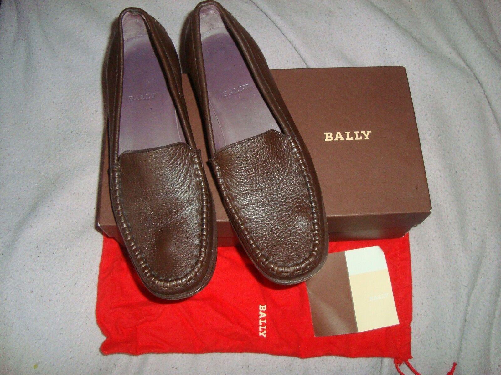 BALLY EU 40 US 9.5 Marrone Pelle Scarpe Mocassini RRP .00