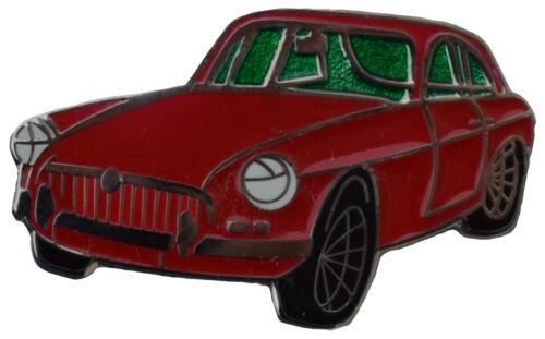MG MGBGT chrome bumper car cut out lapel pin Red