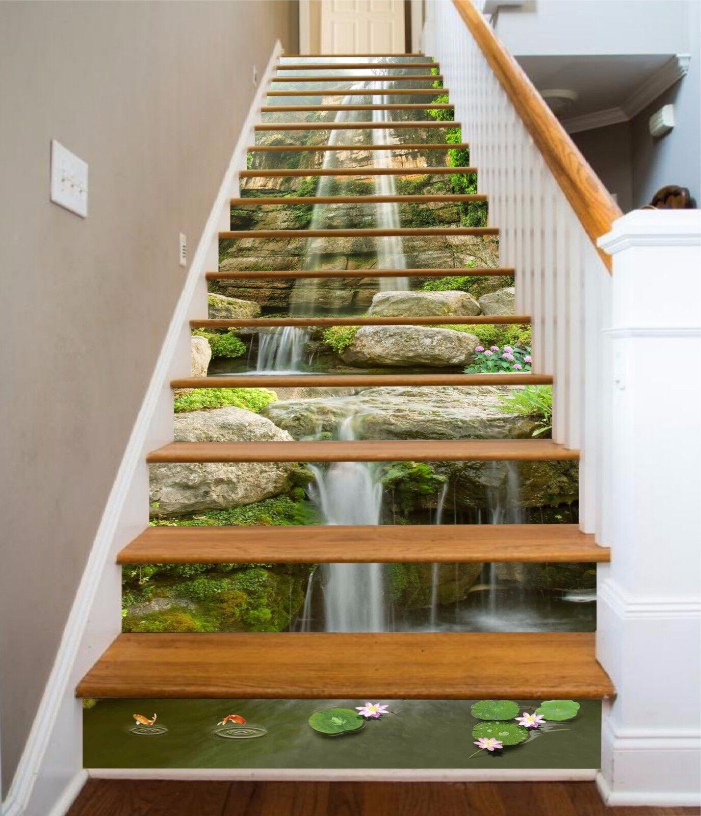 3D Lotus Waterfall 796 Risers Decoration Photo Mural Vinyl Decal Wallpaper CA