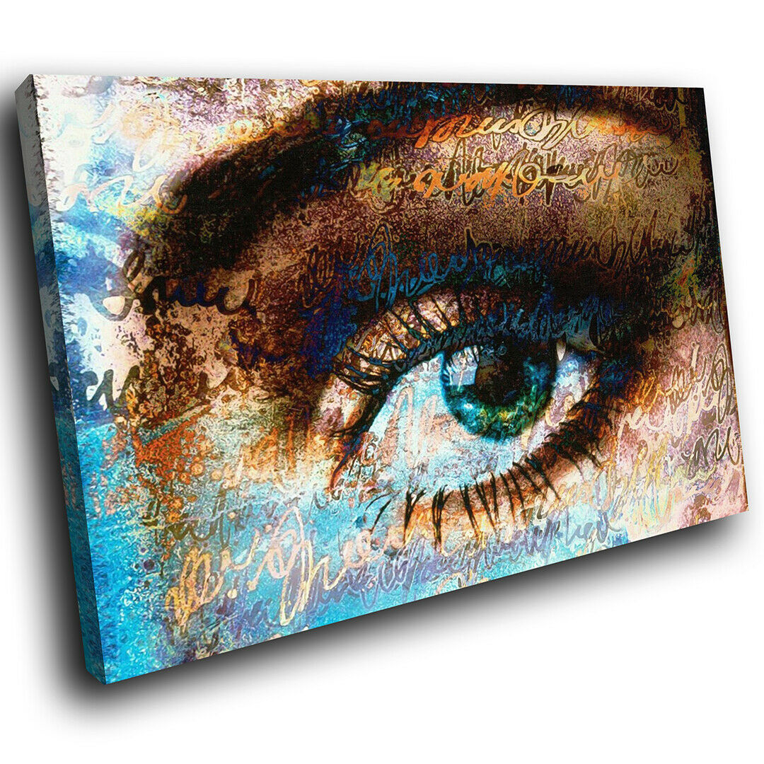 Blau braun Eye Rustic Abstract Canvas Wall Art Large Picture Prints