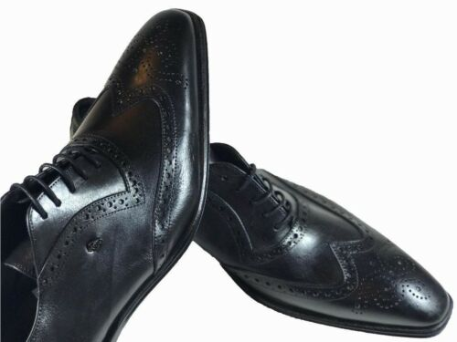 43 Black Handmade Italian Leather Dress Shoes//Oxford Office Shoes,Size 42