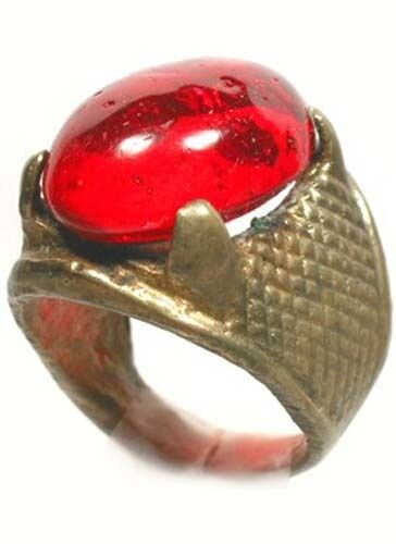 "Antique 19thC Crimean Tatar Silver Bronze Alloy Ring Ruby Red Glass ""Gem"" Sz6¼"
