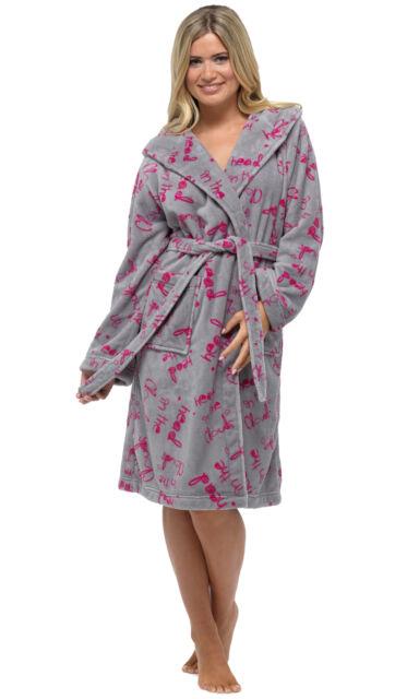 Ladies Womens Supersoft Housecoat Fleece Bath Robe Dressing Gown ...