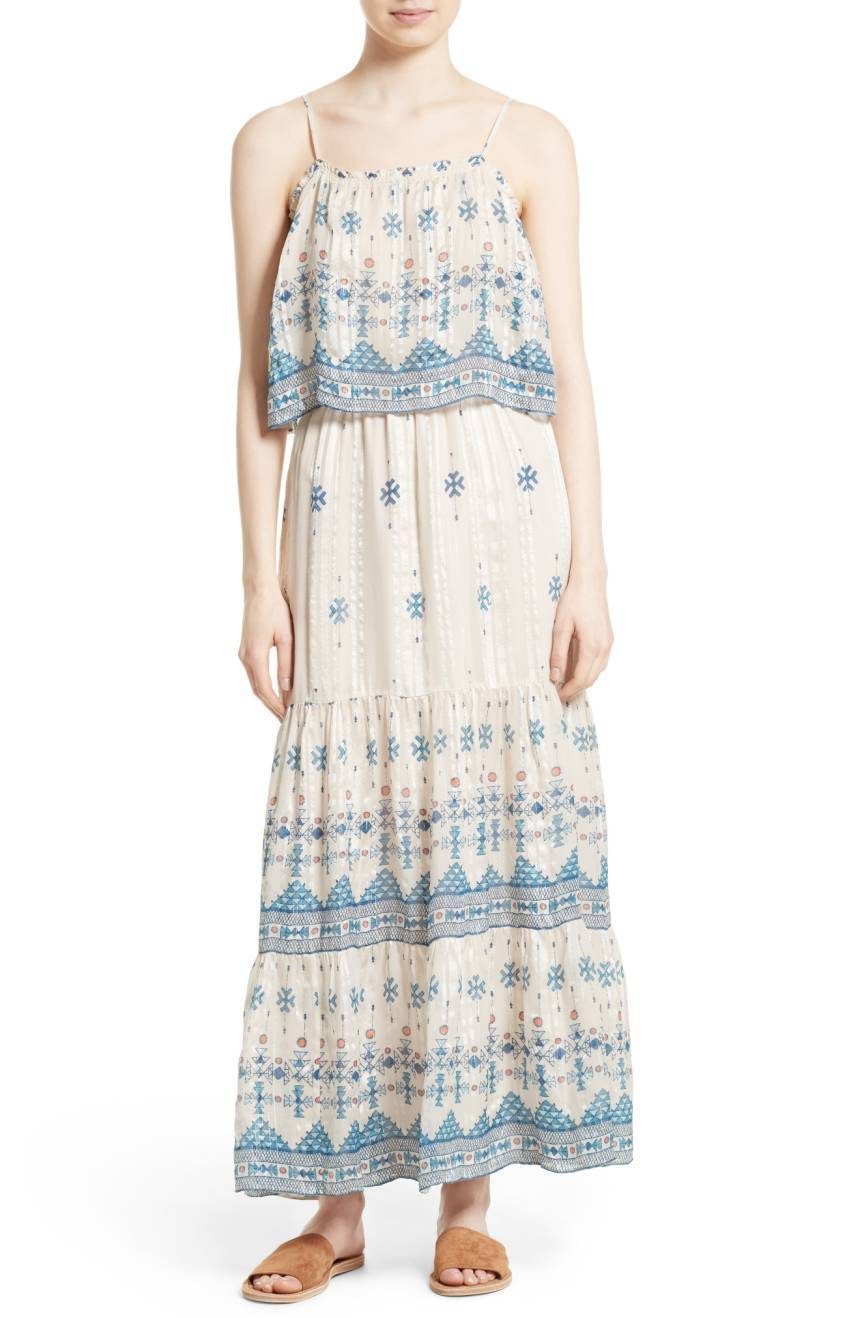SOLD OUT NWT JOIE Sorne Print Popover Maxi Dress Farbe SEPCA sz L Orig