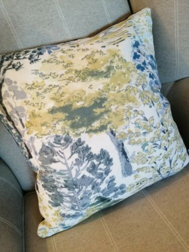 Laura Ashley Bernwood//Austen Blue Fabric Cushion Cover 16/""
