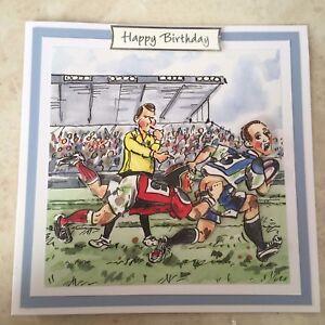 Handmade Joyeux Anniversaire 3d Decoupis Rugby Jeu Tackle Ruggers Carte Humoristique Ebay
