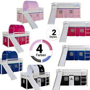 Hoch-Kinder-Jugend-Spiel-Bett-Rutsche-Vorhang-Rosa-Pink-Blau-Schwarz-Homestyle4u