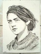 A4 Charcoal Sketch Drawing Game Of Thrones Maisie Williams as Arya Stark