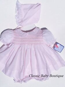 NWT Petit Ami Pink Smocked Lace 3PC Dress Newborn Reborn Baby Girls Bonnet