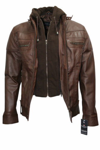 Brady Men/'s Classic Biker Fitted Hooded Style Brown Soft Nappa Leather Jacket