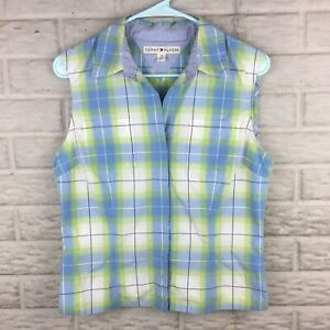 Tommy Hilfiger Women Snap Button Top Size 10 Large Plaid Sleeveless Collared