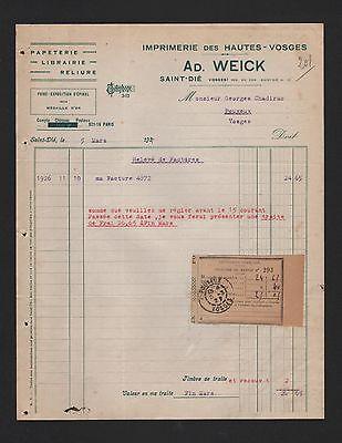 Niedrigerer Preis Mit Saint DiÉ, Rechnung 1927, Ad. Weick Imprimerie Des Hautes-vosges Mit Einem LangjäHrigen Ruf