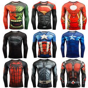 Men-Compression-Shirt-Superman-Bodybuilding-Long-Sleeve-3D-T-Shirt-Gym-Sportwear