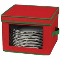 Household Essentials Dinner Plate Holiday Storage Chest,red Canvas With Green Tr on sale