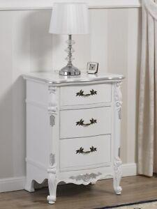 Détails sur Table de chevet Gerald style Baroque Moderne blanc laqué et feuille argent