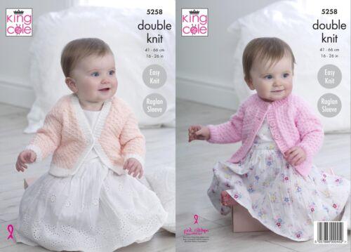 King Cole 5258 Knitting Pattern Baby Child Raglan Cardigans In Big Value Baby DK