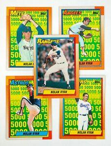 Nolan Ryan #1-5 (1990 Topps) Lot of 5 Cards, 5000 KOs Mets,Rangers,Astros,Angels