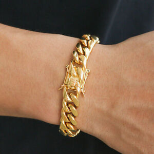 Classic-18K-Gold-Plated-Stainless-Steel-Miami-Cuban-Link-Chain-Bracelet-Men-10MM