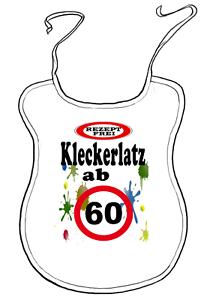 """Scherz-Latz für Erwachsene zum Geburtstag /""""ab 60 Jahre/"""" Kleckerlatz"""