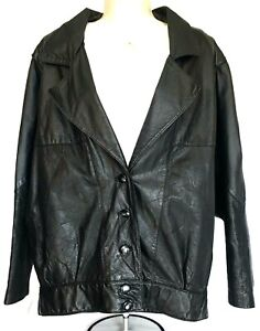 Ricardo Lenzi Womens Black Genuine Leather Bomber Type Jacket Sz 8