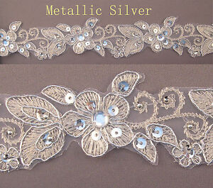 """Handmade Embroidered Corded Beaded Edging Motifs Trim 1 1//2 /"""" width M Silver  #7"""