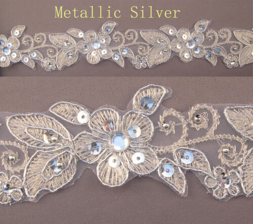 "Handmade Embroidered Corded Beaded Edging Motifs Trim 1 1//2 /"" width M Silver  #7"