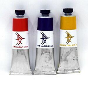 Indian Yellow, Cinnabar, Lapis Lazuli - Historical oil paint hue set #2 - 37ml