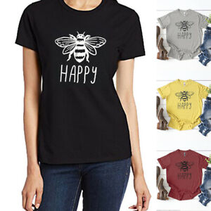 Women-Bee-Happy-Letter-Print-T-Shirt-Funny-Short-Sleeve-Blouse-Tee-Summer-Tops