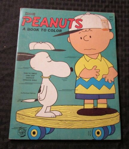 1965 PEANUTS A Book To Color FN Unused Snoopy Charlie Brown Saalfield 80p Green