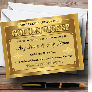 Details About Golden Ticket Personalised Wedding Invitations