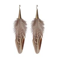 Women's Vintage Bohemian Boho Style Bronze Hook Gray Feather Dangle Earrings