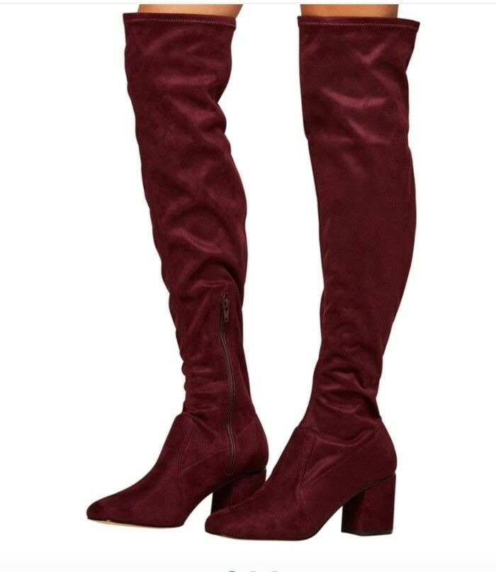 Miss Selfridges Maroon Knee Heels Size 5 Bloggers Favourite Fashion Dune Style