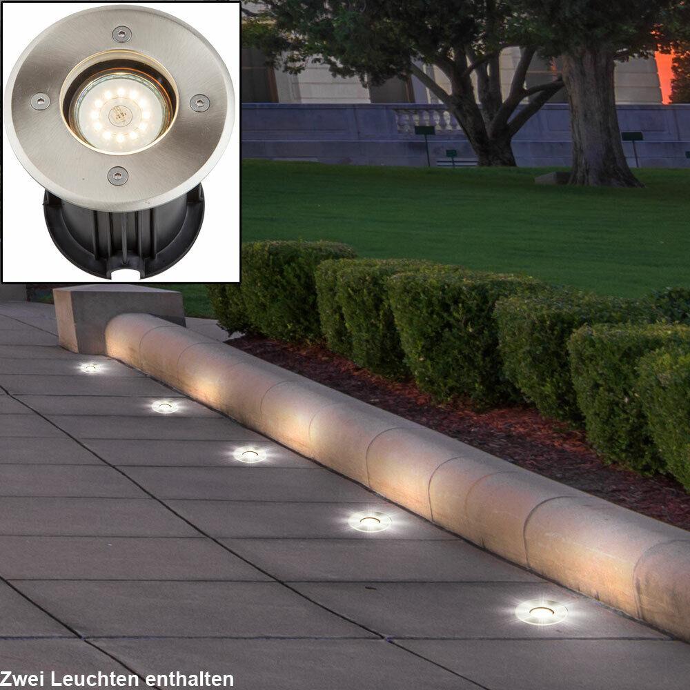2x Extérieur Spot Encastré Acier Inox Jardin Entrée Sol Spots Lampes Praticable
