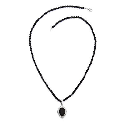 Shop LC Delivering Joy Chain Pendant Necklace Steel and White Stainless Steel Red Agate Cubic Zirconia CZ Size 20