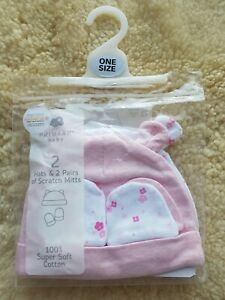 PREMIA Mittens 4 Pack 2 Assorted Scratch Mittens and Baby Hats