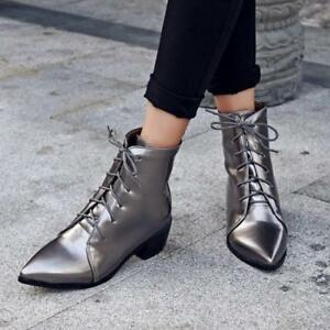 Ladies-Ankle-Boots-Womens-Pointy-Toe-Lace-Up-Chunky-Heel-Casual-Shoes-Pumps-SZ
