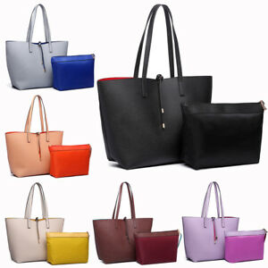 Image is loading Ladies-Faux-Suede-Leather-Large-Reversible-Tote-Shoulder- 6a220a21d3