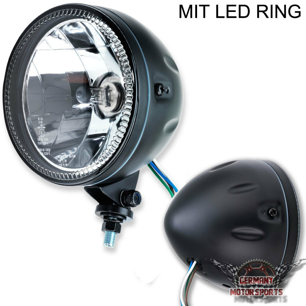 led motorrad haupt scheinwerfer h4 klar glas skyline bm 5. Black Bedroom Furniture Sets. Home Design Ideas