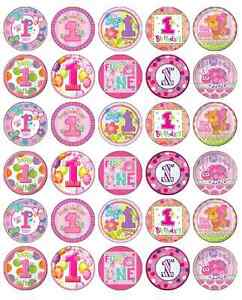 30x 1st Birthday Girl Pink Cupcake Toppers Edible Wafer ...