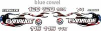Evinrude V4 Cross Flow Usa Flag Flame 90 - 120 Decal Kit