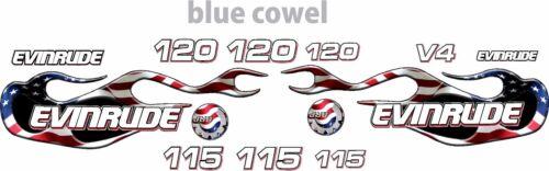 evinrude v4 cross flow usa flag flame 90-120 decal kit