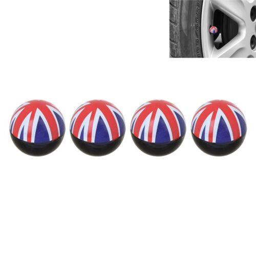 4x Tappi Valvola Union Jack UK Bandiera Per Auto Pkw Lkw Krad Mini Cooper jaguar