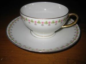 LIMOGES-ELITE-WORKS-LARGER-CUP-amp-SAUCER-BAWO-DOTTER-SHAMROCKS-amp-ROSES-c1920s