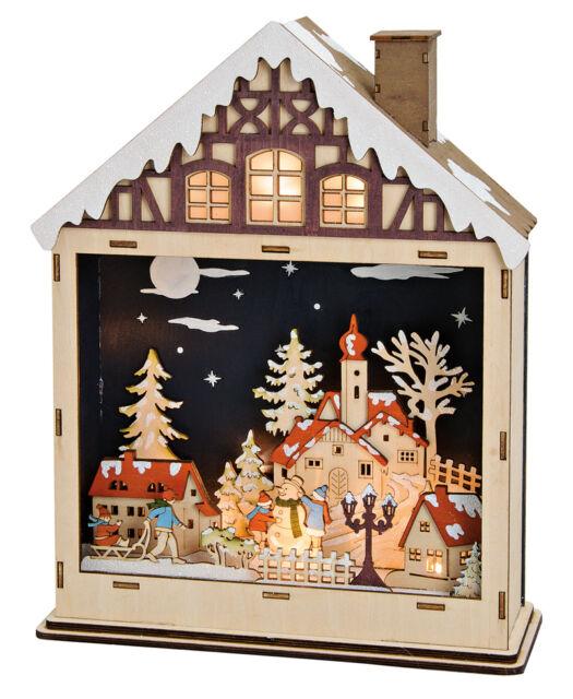 LED Musik Winter Dorf Haus Blumenladen Spieluhr Weihnachten Weihnachtsdeko Xmas