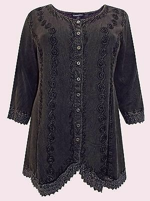 NEW Eaonplus BLACK Renaissance Embroidered Cathedral Lace Tunic 18/20 to 30/32
