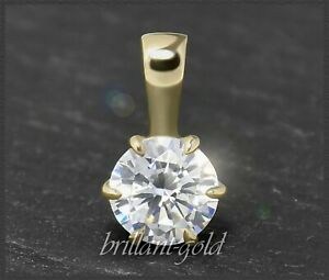 Diamant-Solitaer-Anhaenger-0-58ct-Brillant-River-D-amp-VS-585-Gold-Damen-Gleiter