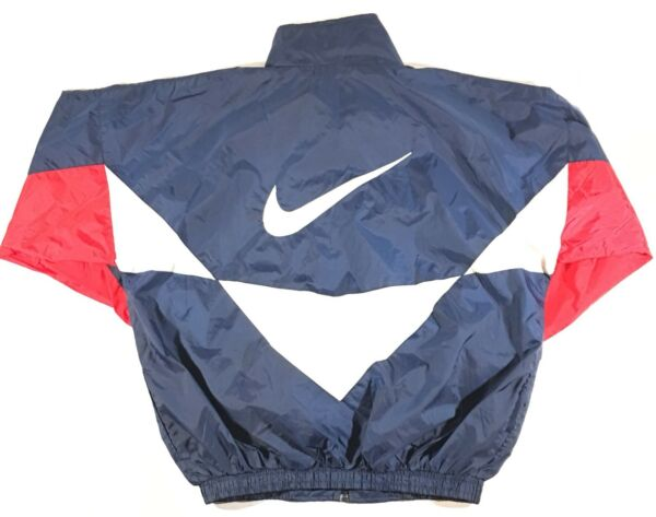 d7cbd620f5cd48 Vintage 90s Nike Air Big Swoosh On Back Full Zip Windbreaker Jacket