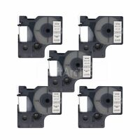 """5 pk Blue on Clear Label Tape Compatible for DYMO 43611 D1 6mm 1/4"""""""