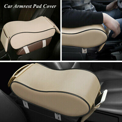 Universal Car SUV Armrest Pad Cover Auto Center Console PU Leather Cushion Beige