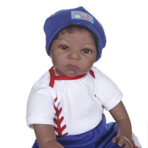 "22/"" Weighted Baby Reborn Dolls Boy Black Silicone African American Doll Lifelike"